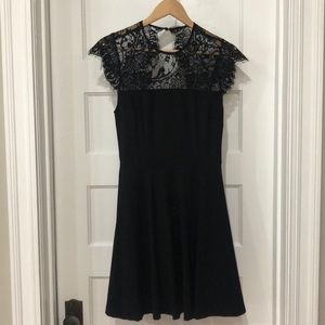 Women's black contain dress with lace top, sz S